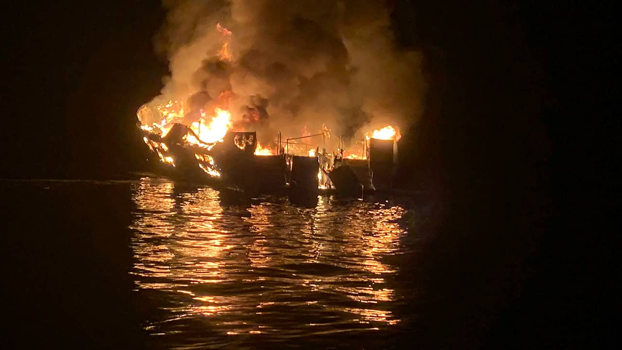 Photo of a dive boat engulfed in flames in Santa Barbara, Ca.
