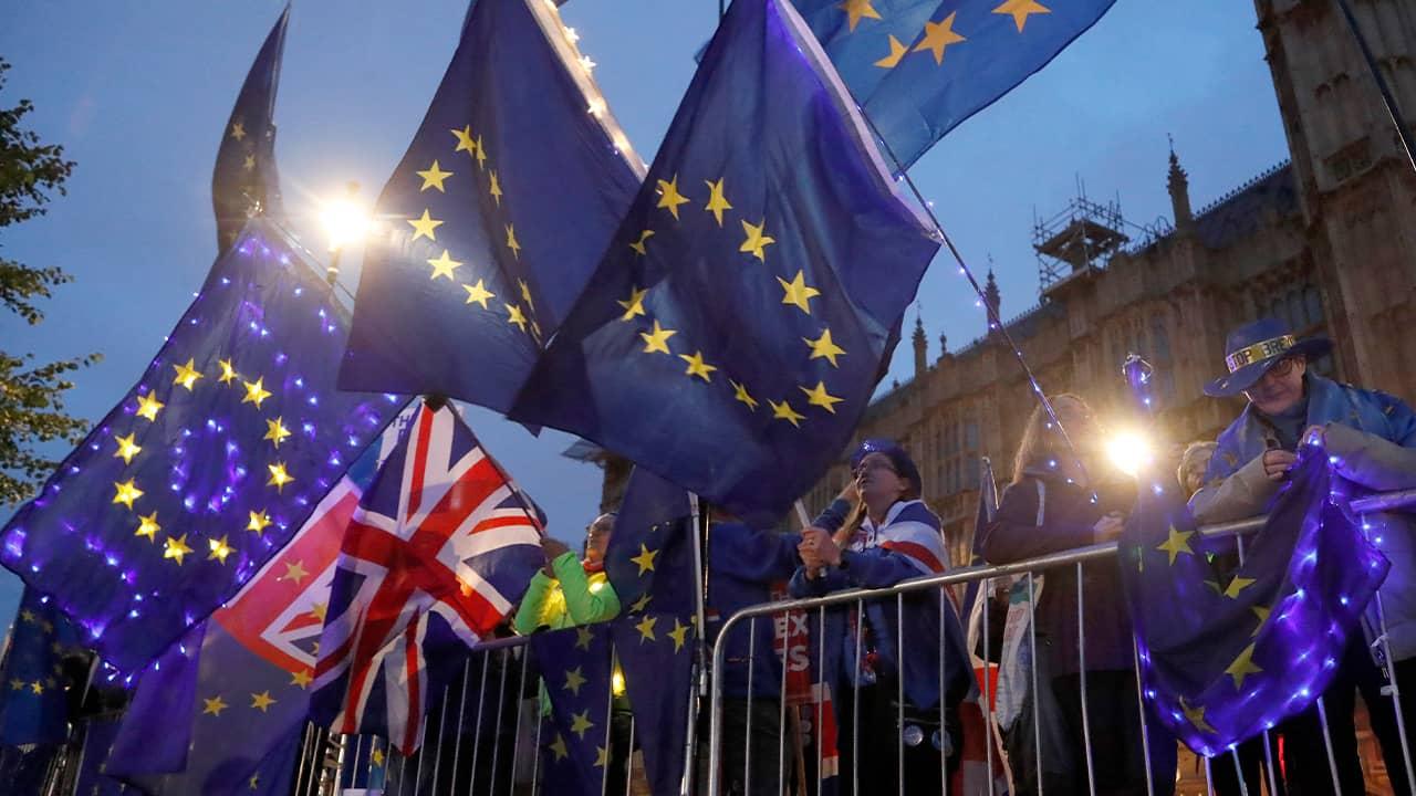 Photo of Pro EU protestors waving flags