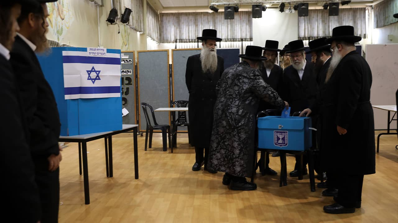 Photo of ultra orthodox Jews voting in Israel