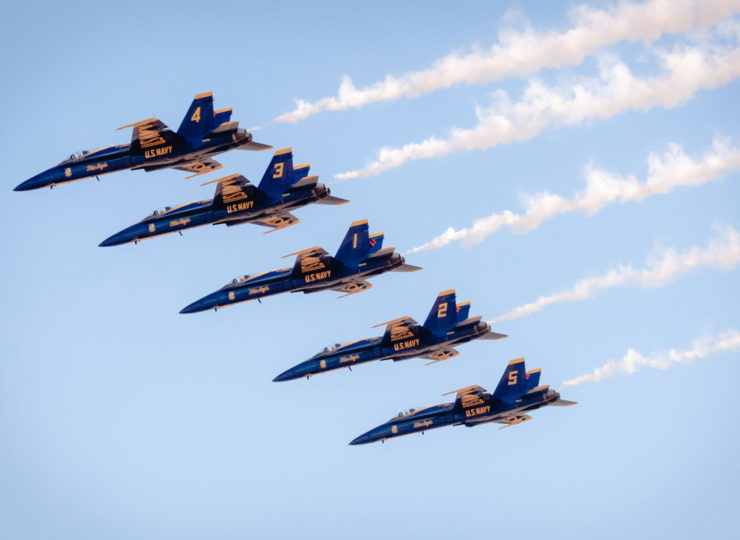 Blue Angels in formation over Sacramento.