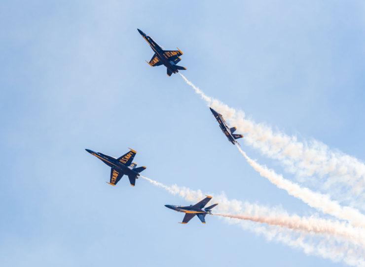 Blue Angels execute a Barrel Role Break over Mather Airport, Sacramento.