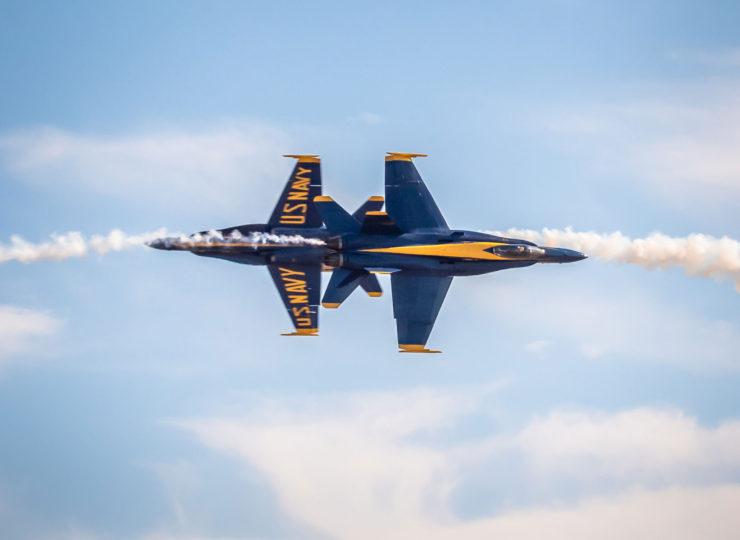 Blue Angels Knife Edge Pass over Mather Airport, Sacramento.
