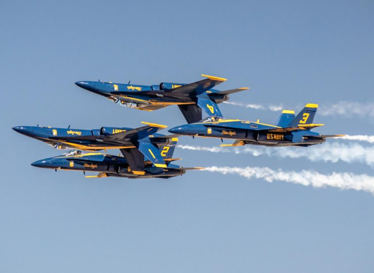Blue Angels Double Farvel manuever features two inverted and two upright jets flying together in formation.