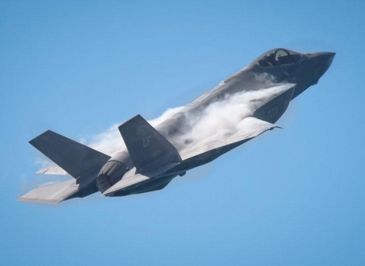 An F35 Viper Stealth Fighter making rapid climb over Huntington Beach.