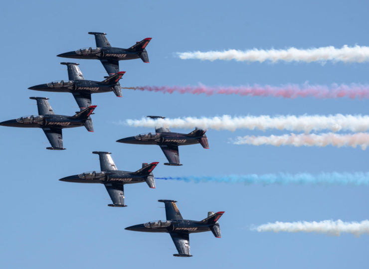 The Patriots Jet Team squadron of Aero L-39 in formation over NAS Lemoore.