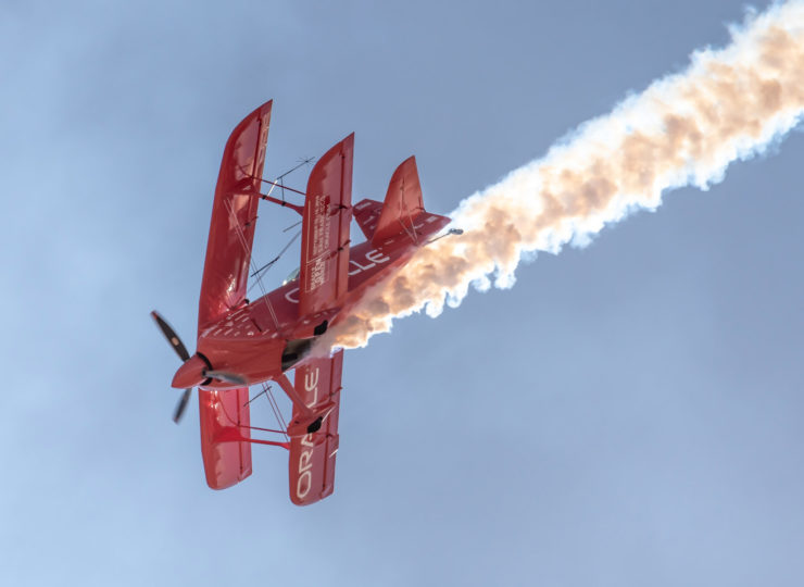 Sean D. Tucker maneuvers his aerobatic stunt bi-plane at the California Capital Airshow.