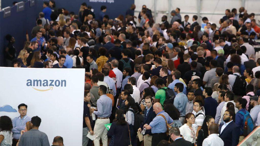 photo of job seekers at Amazon job fair in Dallas, Texas