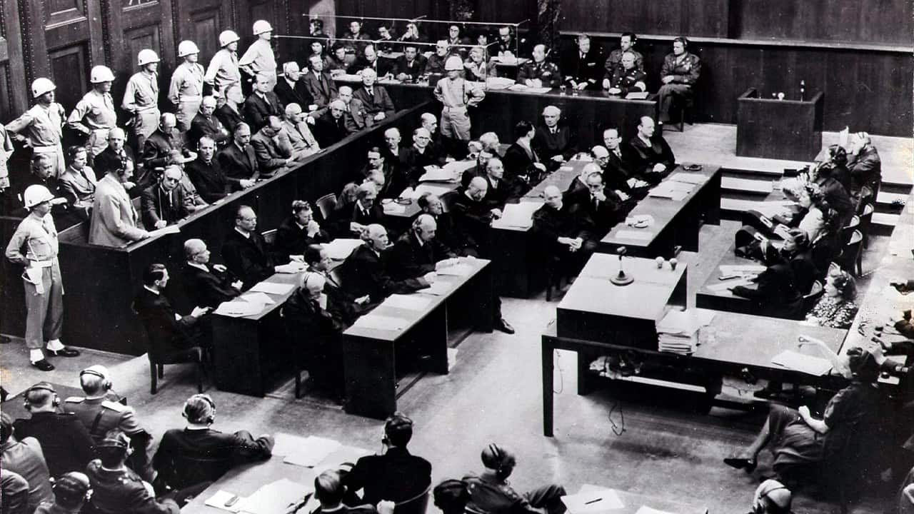 Photo of the court room of the Nuremberg Trials against Top Nazis in Nuremberg
