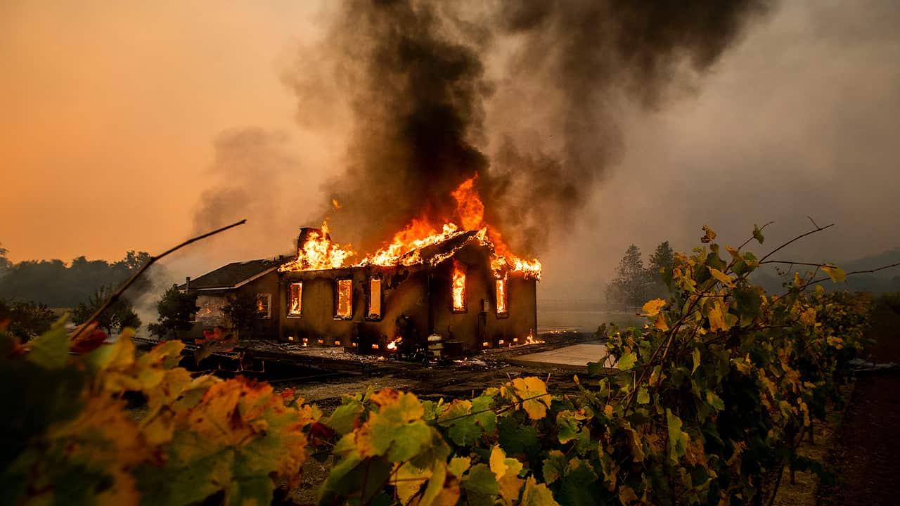 Photo of a burning house