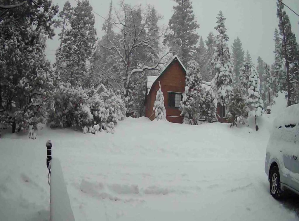 Photo of snow covered West Village at Shaver Lake