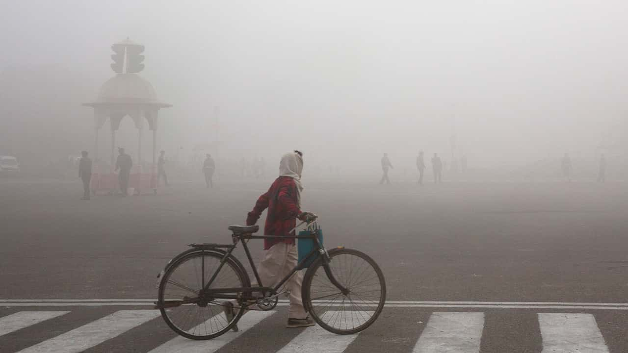 Photo of a cyclist in India amidst morning smog