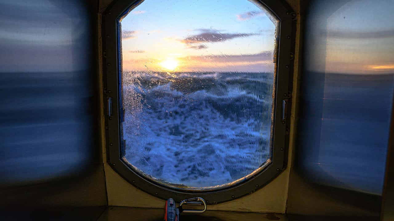 Photo of a view from the main lab of the Sikuliaq in the Chukchi Sea