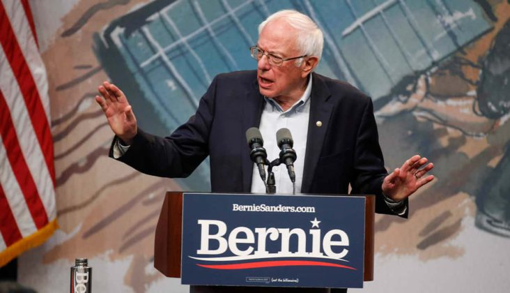 Democratic presidential candidate Sen. Bernie Sanders, I-Vt., speaks to supporters on Saturday, Nov. 9, 2019, at Drake University in Des Moines, Iowa. (Bryon Houlgrave /The Des Moines Register via AP)