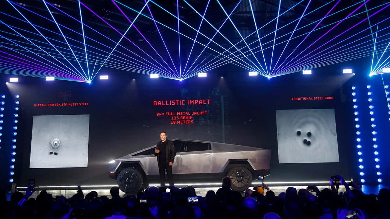 Photo of Elon Musk introducing the Tesla Cybertruck