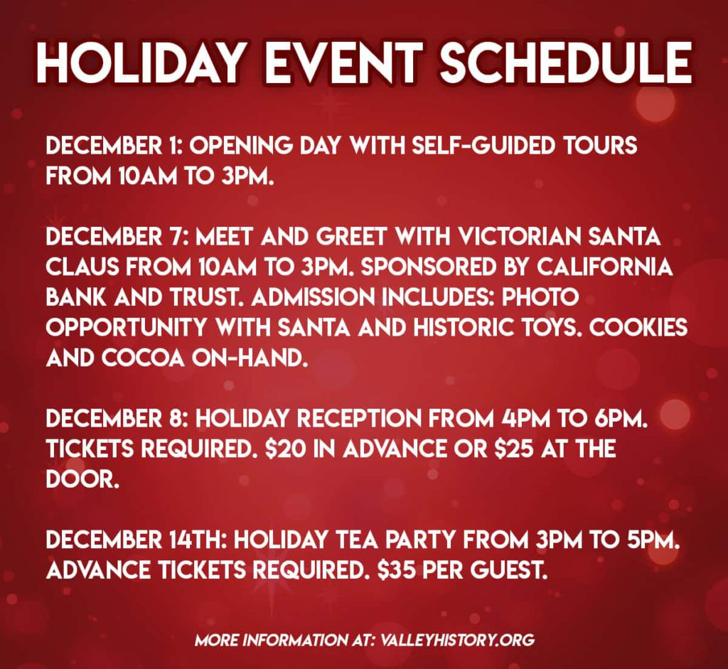Graphic of the holiday event schedule at the Kearney Museum Mansion