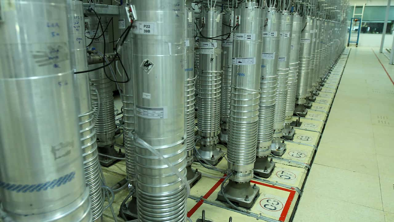 Photo of centrifuge machines in Natanz uranium enrichment facility in central Iran