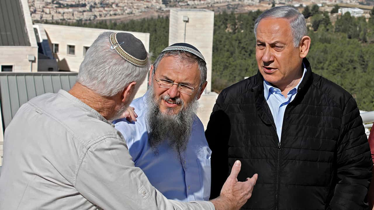 Israeli Prime Minister Benjamin Netanyahu meeting with the heads of Israeli settlements