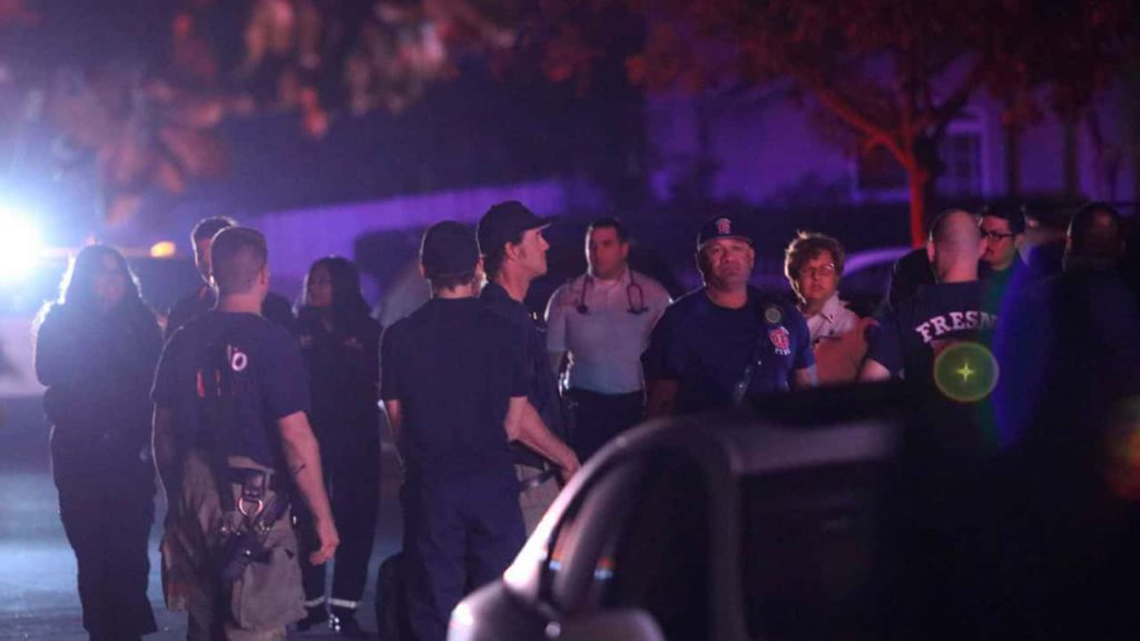 Photo of police and emergency personnel at Fresno mass shooting