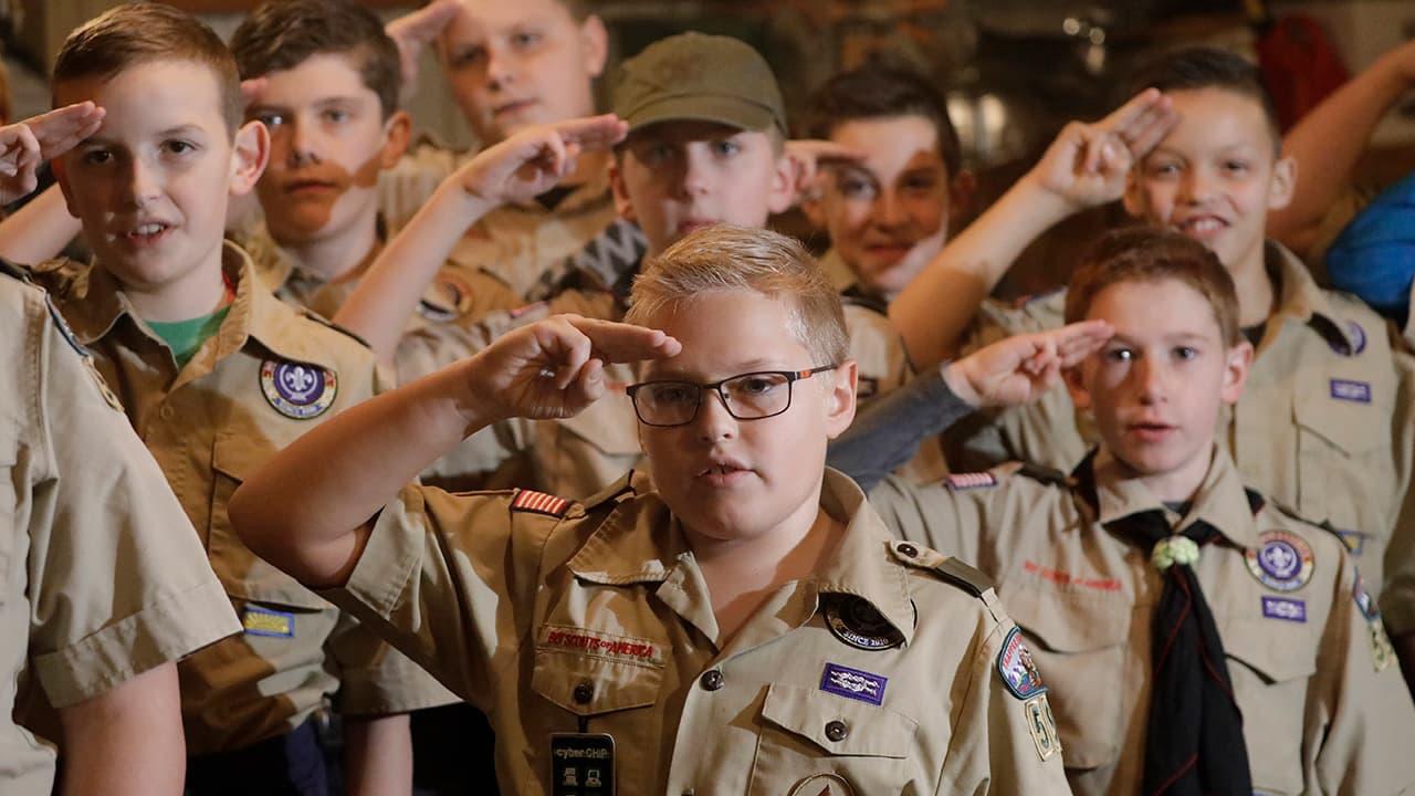 Photo of Boy Scouts troop saluting