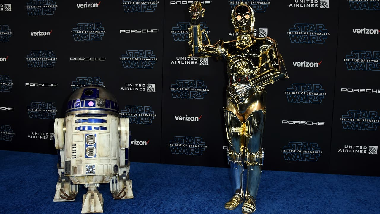 Photo of R2-D2, left, and C-3PO characters