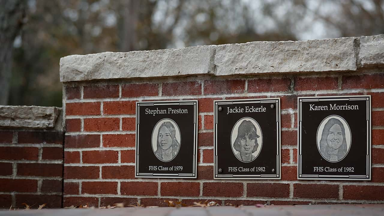 Photo of the faces of the three Finneytown students killed in a stampede at The Who's Dec. 3, 1979 concert