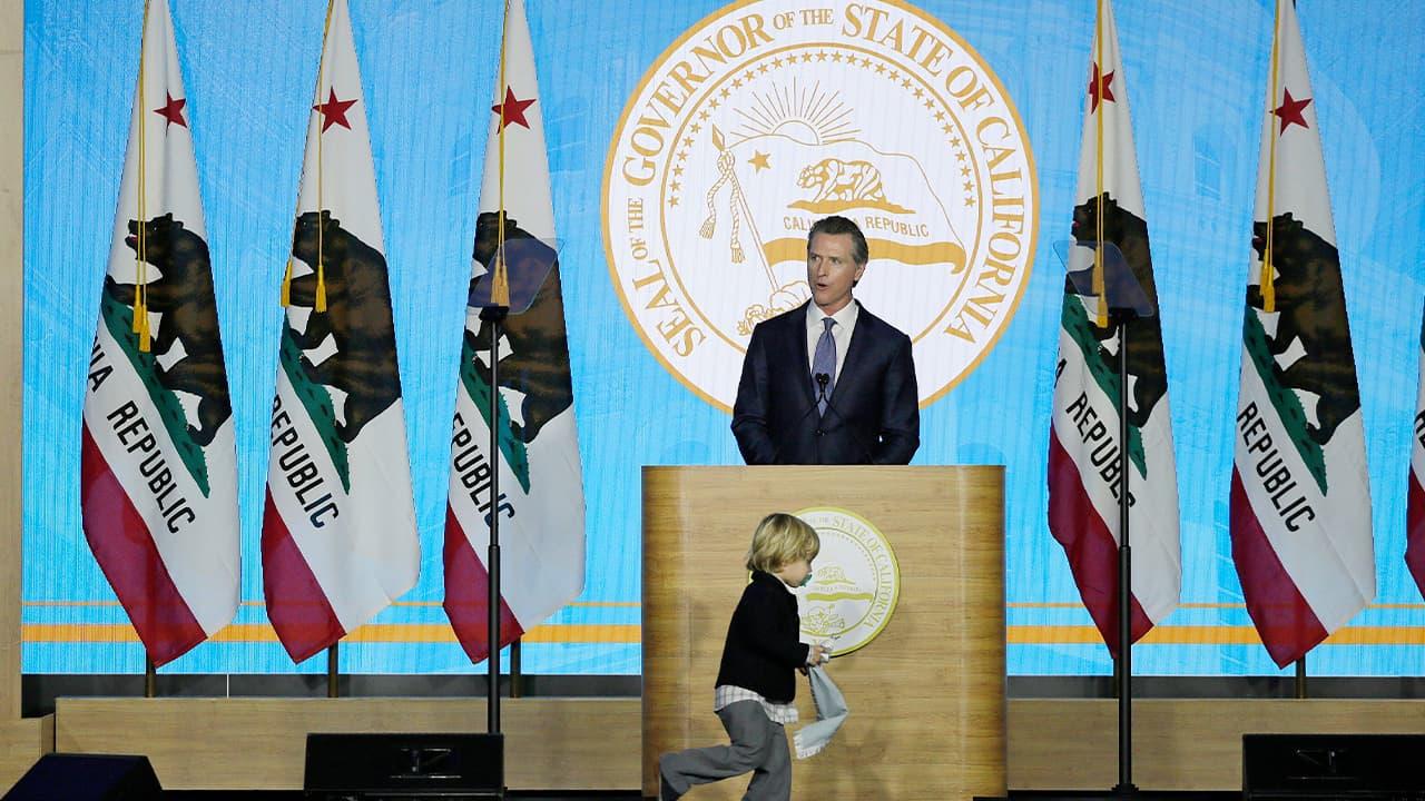 Photo of Gov. Gavin Newsom speaking during his inauguration