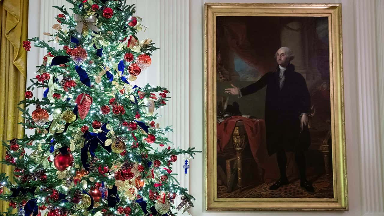 Photo of a decorated tree stands next to the portrait of President George Washington in the East Room