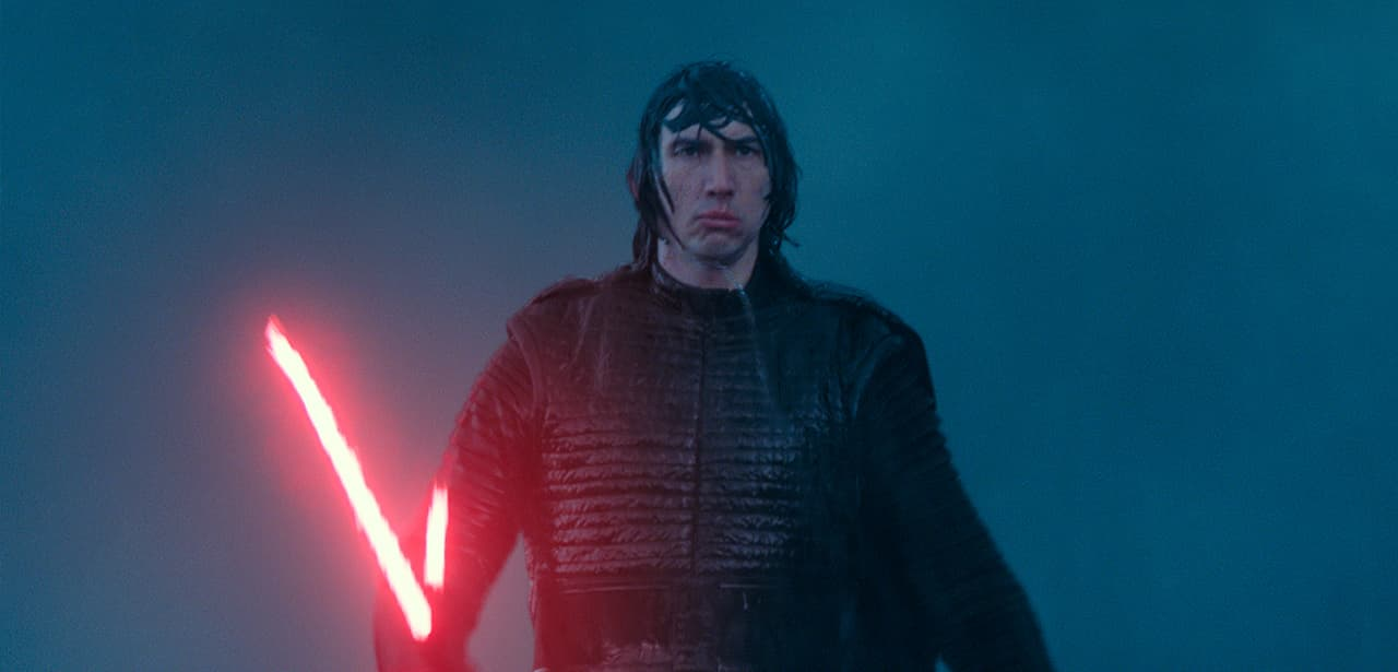 "Photo of Adam Driver as Kylo Ren in a scene from ""Star Wars: The Rise of Skywalker"""