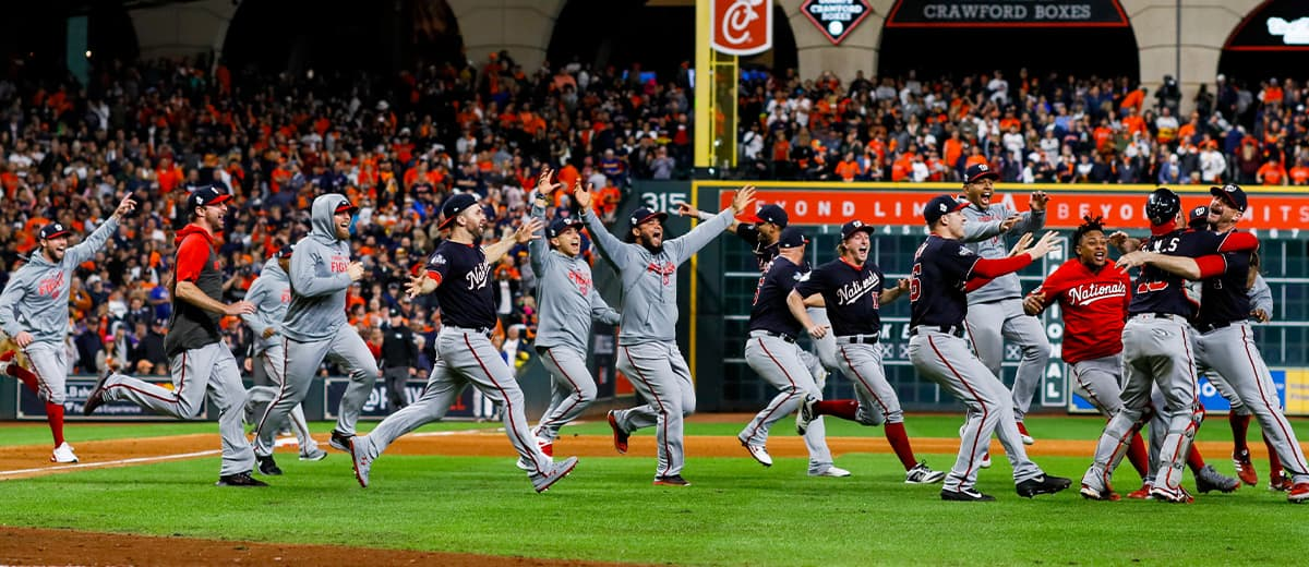Photo of the Washington Nationals celebrating after Game 7 of the World Series
