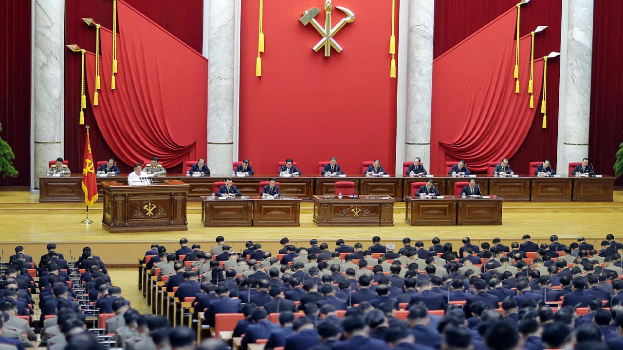 Photo of a Workers' Party meeting in Pyongyang, North Korea