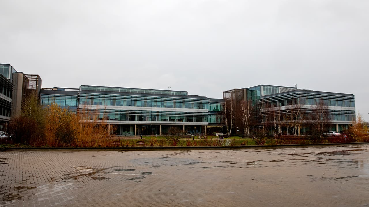 Photo of a sign at the Mundipharma International headquarters at Cambridge Science Park in England