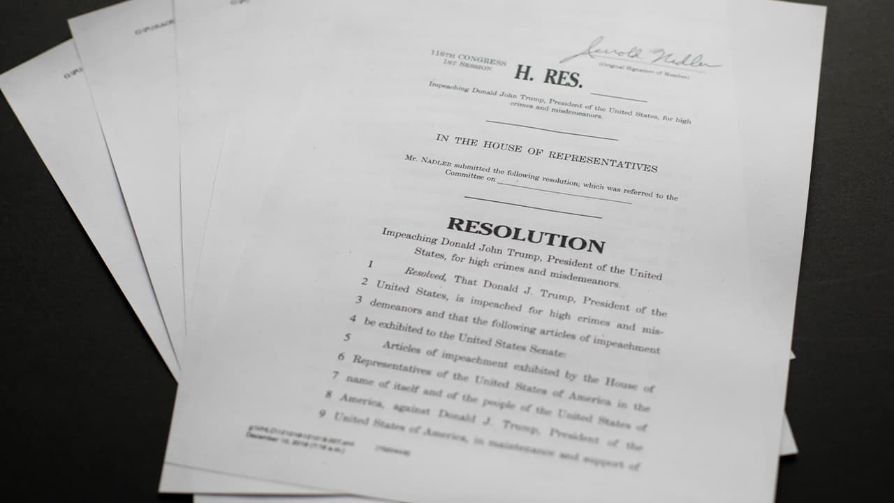 Photo of the articles of impeachment against President Donald Trump