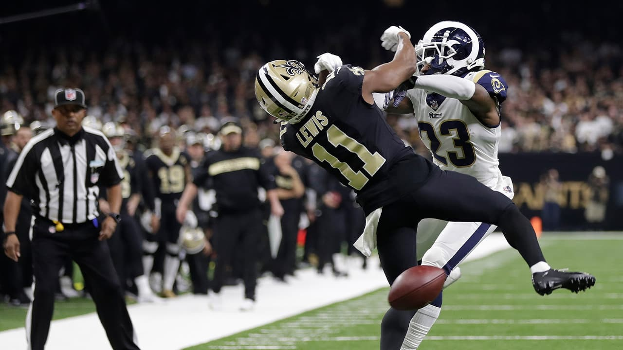 Photo of Los Angeles Rams defensive back Nickell Robey-Coleman and New Orleans Saints wide receiver Tommylee Lewis