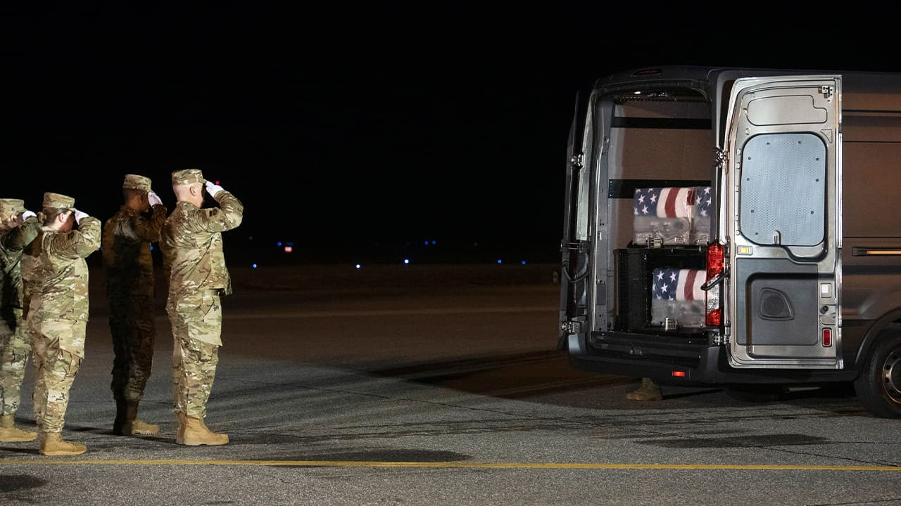 Photo of an Air Force carry team salutes the transfer cases