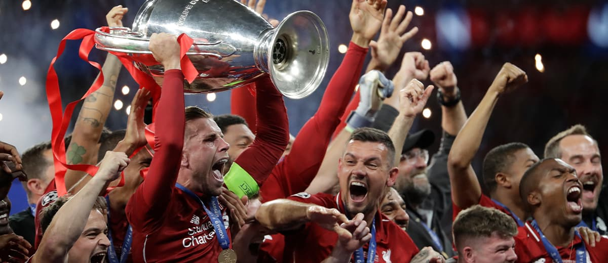 Photo of Liverpool players after winning the Champions League final soccer match