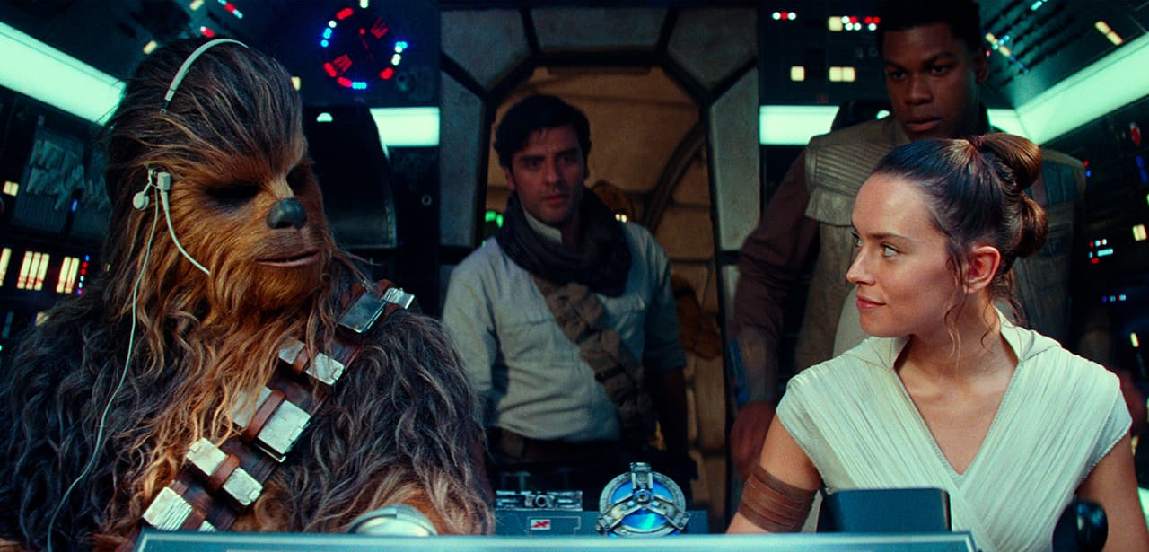 "Photo of Joonas Suotamo as Chewbacca, Oscar Isaac as Poe Dameron, Daisy Ridley as Rey and John Boyega as Finn in a scene from ""Star Wars: The Rise of Skywalker"""