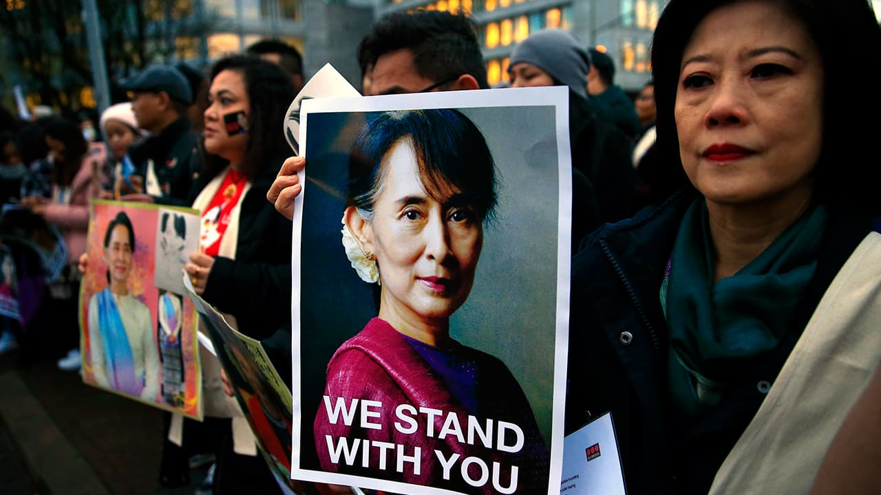 Photo of Supporters of Myanmar's leader Aung San Suu Kyi