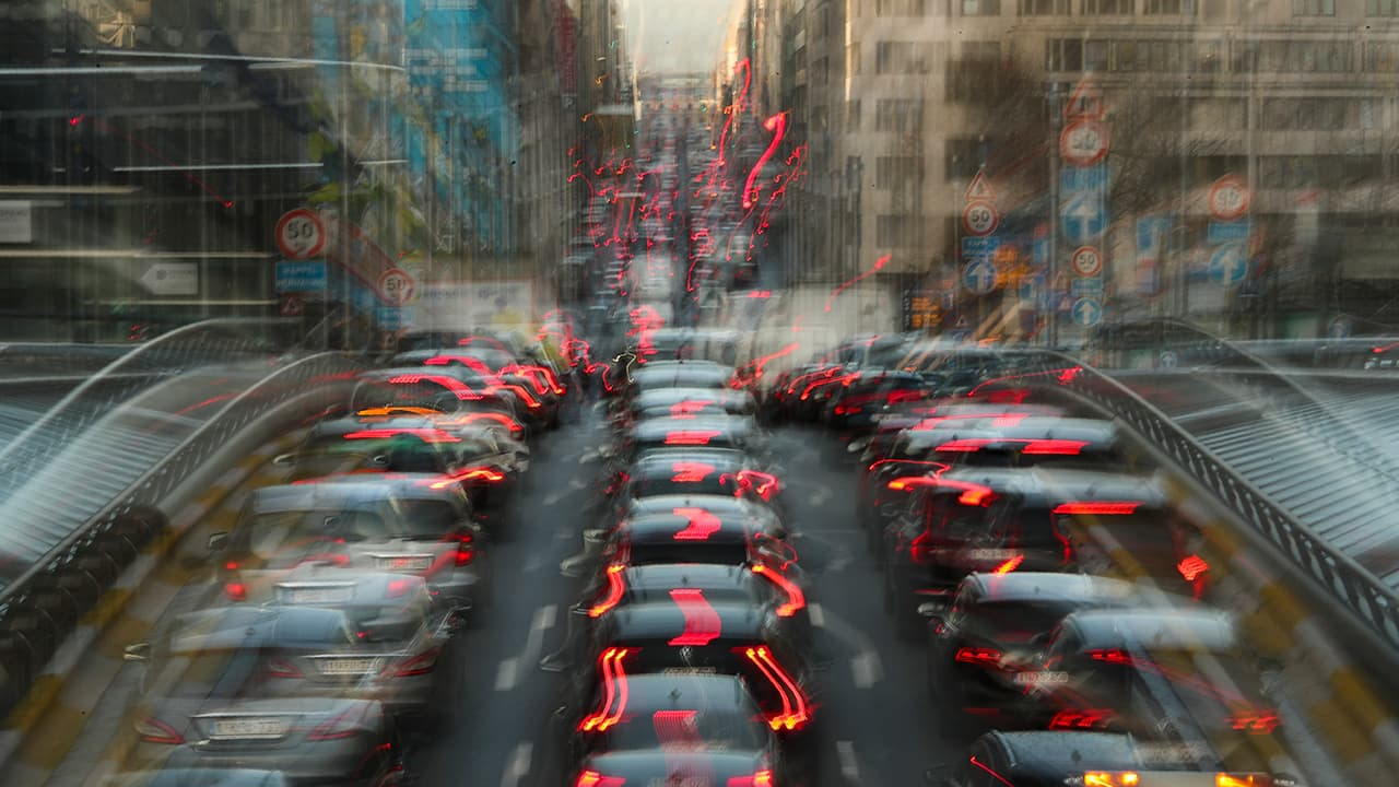 Photo of commuters backed up in traffic