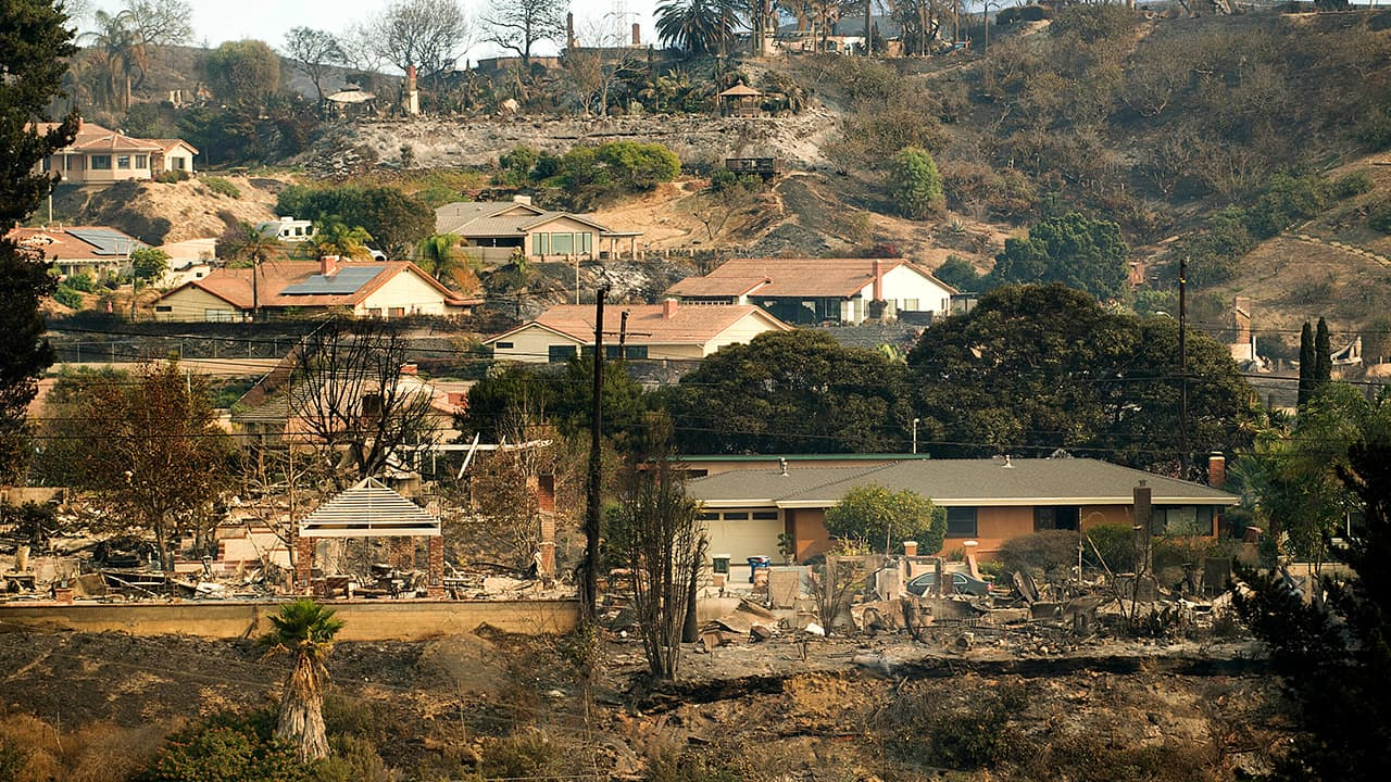Photo of homes scorched by wildfires in Ventura, CA