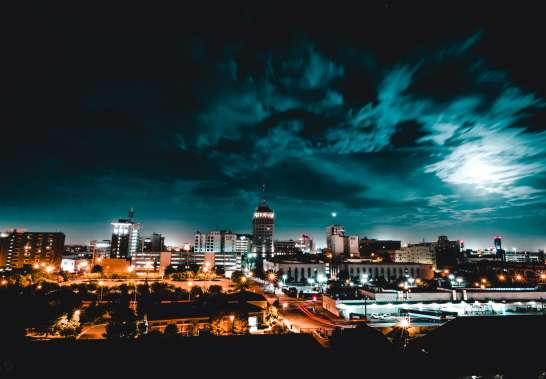 Artistic rendition of downtown Fresno at night