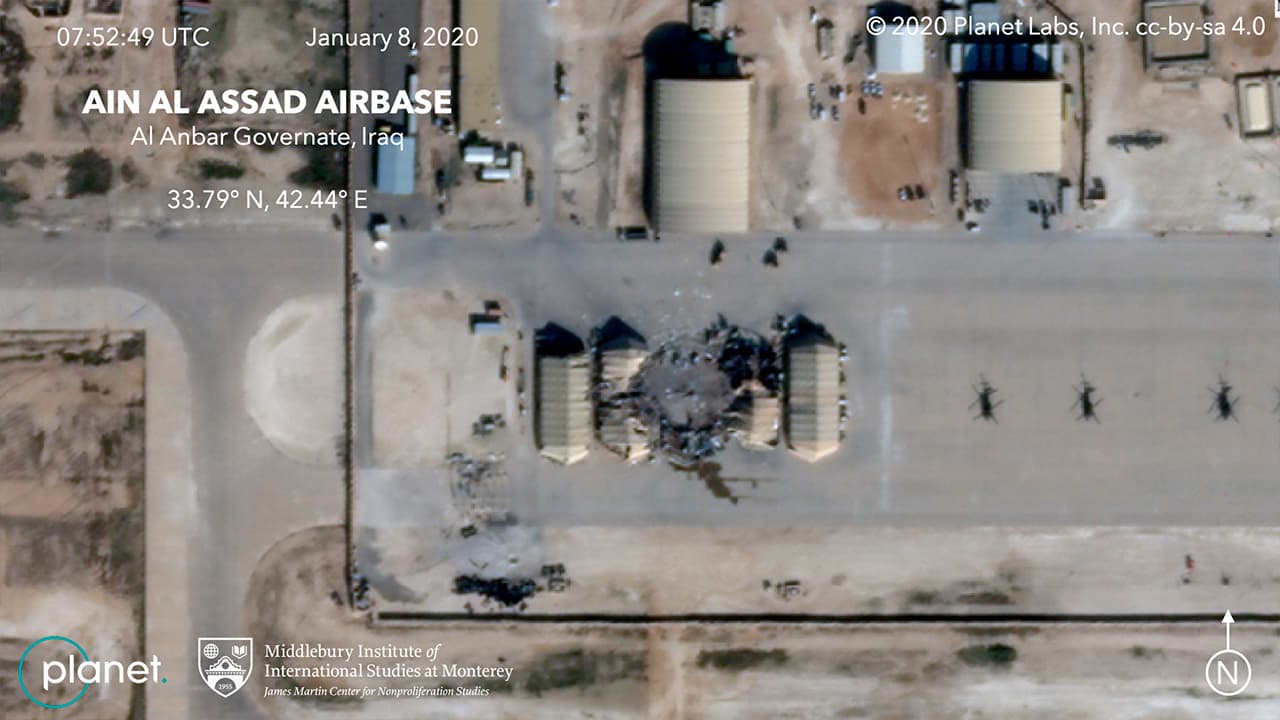 Photo of the damage caused from an Iranian missile strike at the Ain al-Asad air base in Iraq