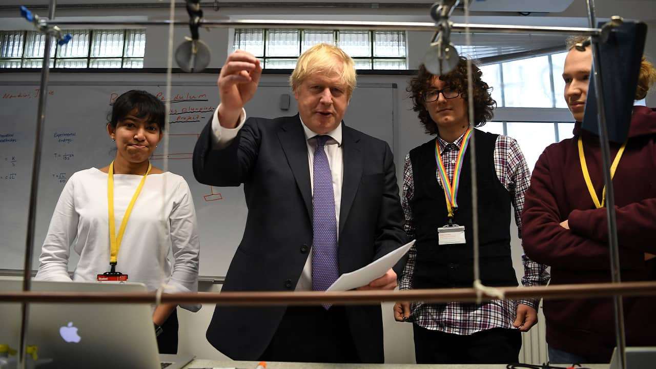 Photo of Prime Minister Boris Johnson visiting the Department of Mathematics at King's Maths School, part of King's College London University, in London