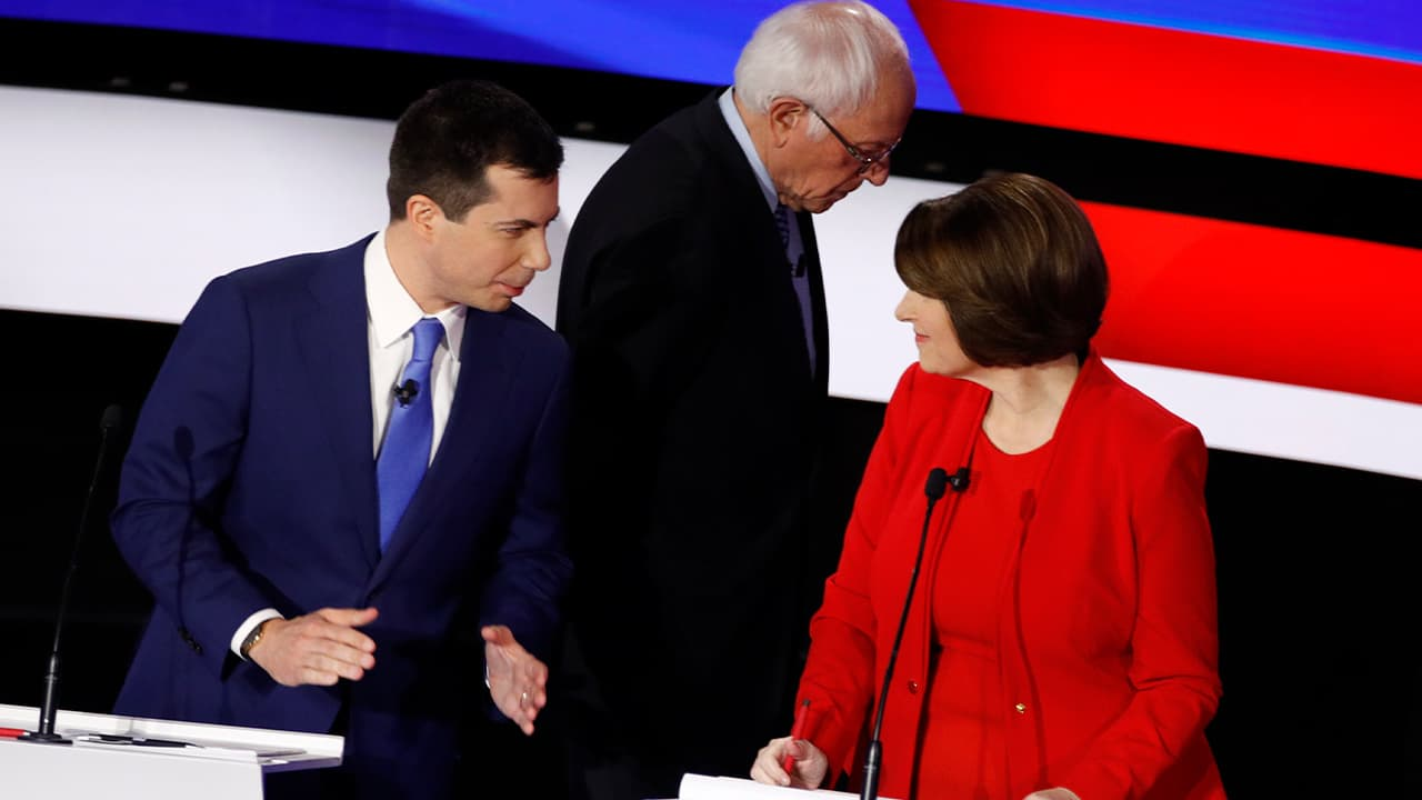 Photo of Democratic presidential candidates former South Bend Mayor Pete Buttigieg, left, and Sen. Amy Klobuchar