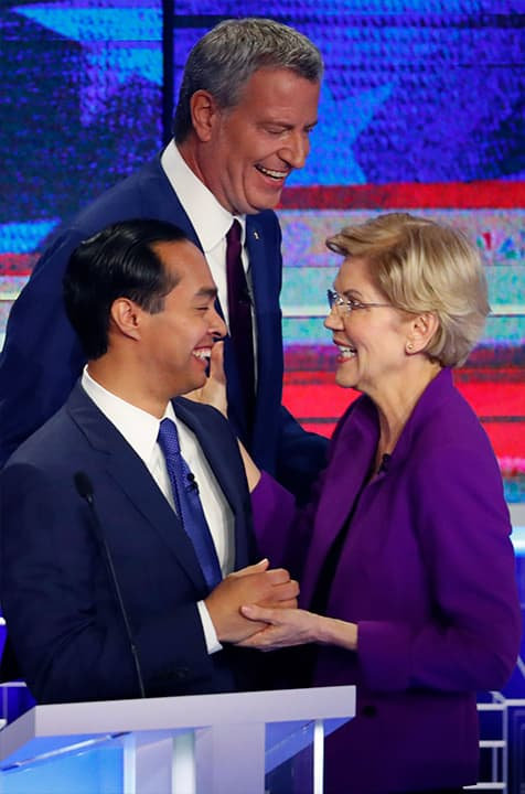 Photo of Julian Castro and Elizabeth Warren