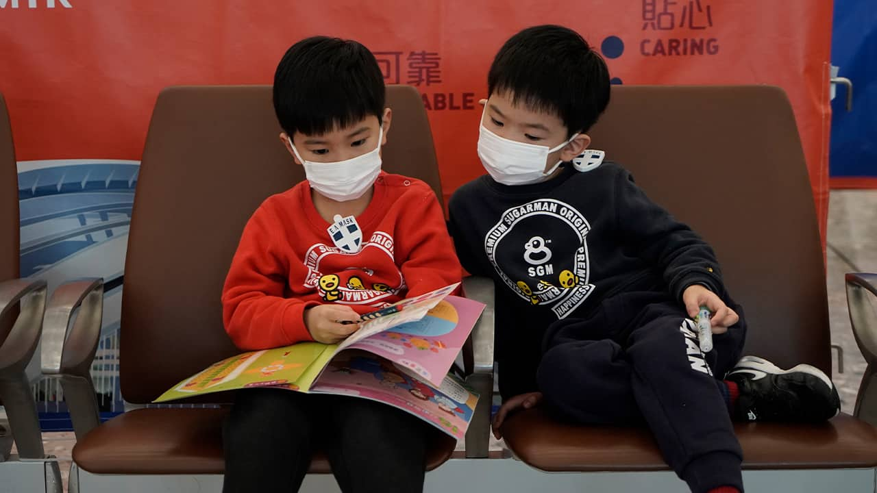 Photo of kids wearing masks to prevent an outbreak of a new virus in China