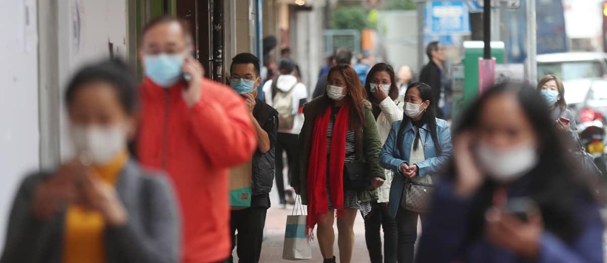 Photo of people wearing face masks in Hong Kong