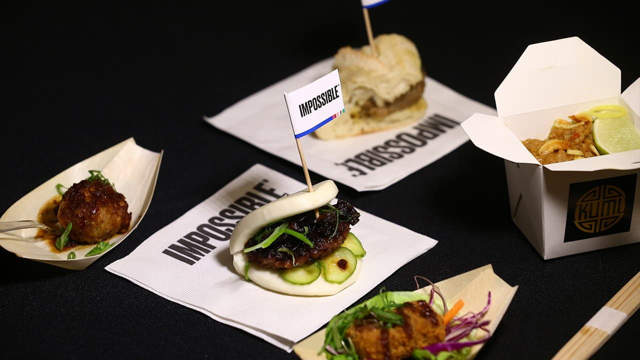 Photo of a variety of Impossible Pork dishes from Impossible Foods