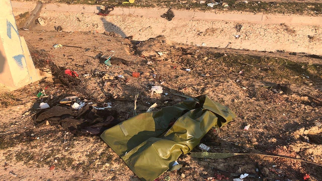 Photo of debris seen from a plane crash in Tehran