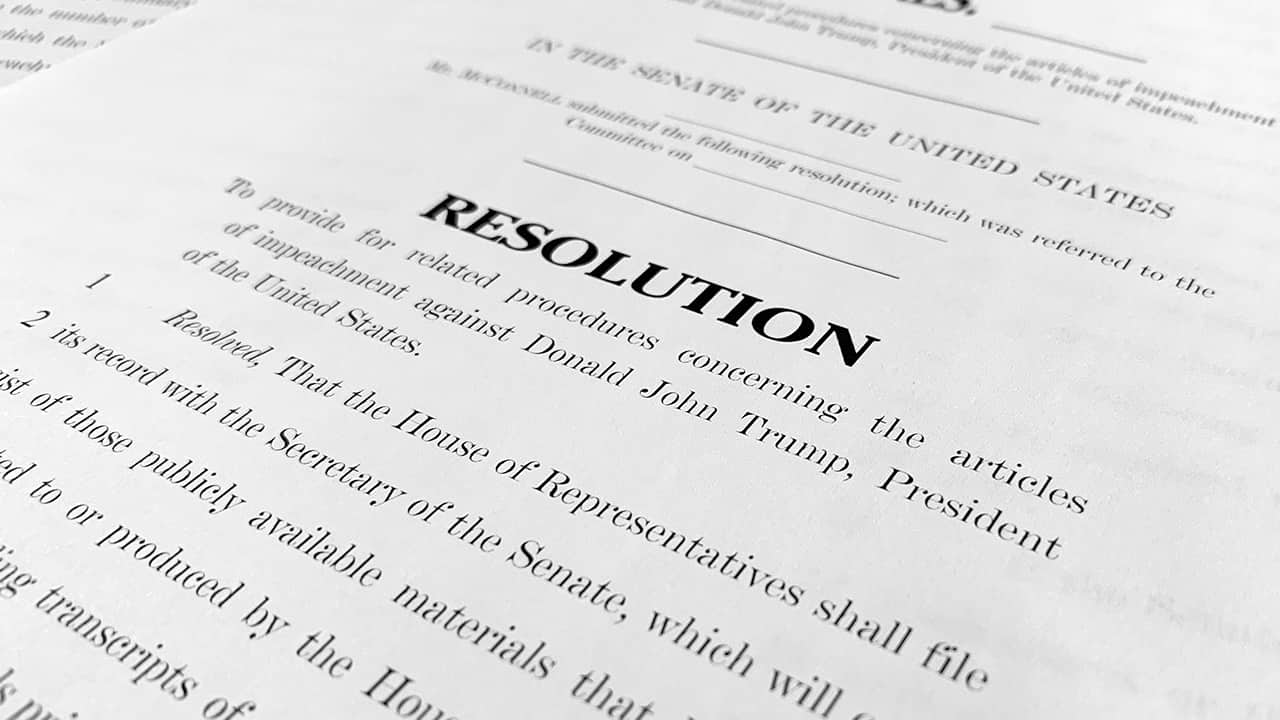 Photo of a copy of a Senate draft resolution to be offered by Senate Majority Leader Mitch McConnell