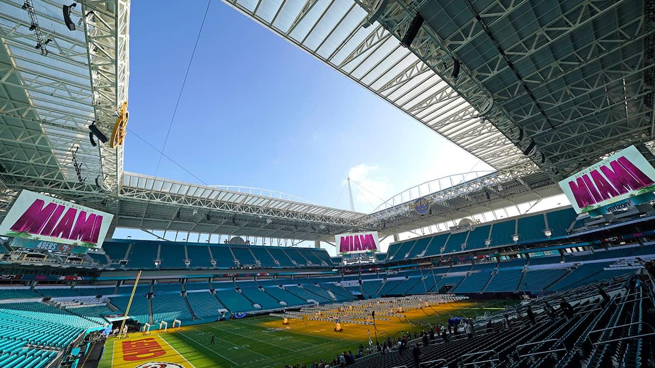 Photo of the grass field inside the Hard Rock Stadium in Miami Gardens